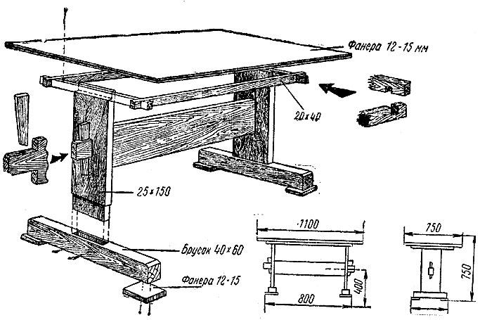 Как сделать стол своими руками из досок чертежи 24
